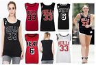 Womens New Top Chicago Bulls 33 Celebrity Heat 6 Basketball Vest T-Shirt Tee Top