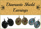 ~DIAMANTE SHIELD EARRINGS~Celtic~Medieval~Oval Disc~Gold~Silver~Black~