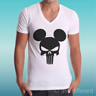 T-SHIRT COLLO V MAGLIA THE PUNISHER TESCHIO TOPOLINO SKULL MOUSE