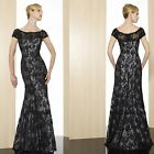★2014 Long Mermaid Black Lace Evening Cocktail Formal Prom Dresses Wedding Gowns