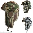 MENS LADIES BOYS WINTER THERMAL RUSSIAN CAMOUFLAGE ARMY CAMO SKI TRAPPER FUR HAT