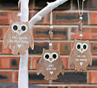 Vintage Shabby Chic Style Wooden Hanging Owl Heart Decoration Choice of Design