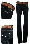 NEW Womens BELT Jeans Ladies Blue Denim Skinny Tight Slim Fit Pant Med Rise 6-14