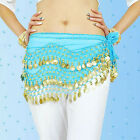 3 Rows Belly Dance Hip Skirt Scarf Wrap Belt Hipscarf with Goin&Silver Coins New