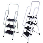 Foldable Non Slip 2 3 4 Step Steel Ladder tread Stepladder Safety Handrail Rail
