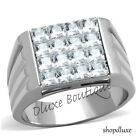 Men's 2.85 Ct Princess Cut Simulated Diamond Stainless Steel Ring Band Size 8-14