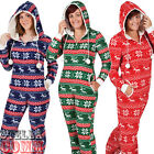 Men's Ladies Festive Christmas Fleece Onesie Hooded All In One Pyjamas Sleepsuit