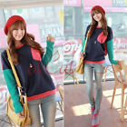 Fashion Womens Matching Colors Sweater Lady Long Sleeve Crew Neck T-shirt Tops