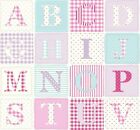 ABC Alphabet PINK  Wipe Clean Tablecloth Cotton Oilcloth PVC Selectable size