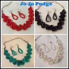 """18"""" Woven Beads - Necklace & Earring Set - Bronze or White  -  U48"""