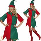 Ladies Red & White Elf Santas Helper Christmas Xmas Fancy Dress Costume & Hat
