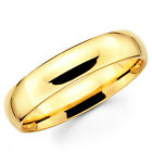 10K Solid Yellow Gold 5mm Plain Men's and Women's Wedding Band Ring