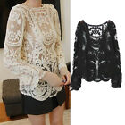 Women Floral Hollow Lace Semi Sheer Embroidery Crochet Ladies T-Shirt Top Blouse