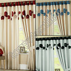 RING TOP LINED PAIR EYELET POPPY READY MADE CURTAINS RED BLACK SILVER CREAM