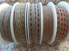 1m or 2m 6mm Centre Stitch ribbon Natural with colour stitch NEW!!