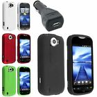 Color Rubber Hard Case Cover For HTC myTouch 4G Slide + USB Car Charger Adapter