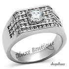 Men's 2.80 Ct Round Cut Simulated Diamond Silver Stainless Steel Ring Size 8-13