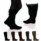 New Women's Ladies Flat Mid-Calf Tassel Zip Up Winter Warm Boots Shoes Size