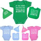 BabyPrem Baby Clothes Cute Auntie Aunty Hat Bib Vest Shower Party Gift Boys Girl