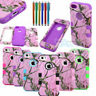Hybrid Camo Tree Heavy Duty Hard Case Cover Silicone for Apple iPhone 5C + Pen