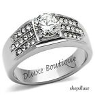 MEN'S 2.15 CT ROUND CUT SIMULATED DIAMOND SILVER STAINLESS STEEL RING SIZE 8-13