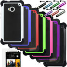 Rugged Hybrid Heavy Duty Dual Layer Impact Hard Case Cover For HTC 1 ONE M7 2013