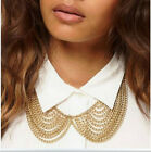 Vintage Punk Alloy Gold Tassels Chain Bow Tie Peter Pan False Collar Necklace