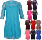 Ladies New Plus Size Floral Pattern Lace Dresses Womens 3/4 Sleeve Stretch Dress