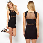 Women Lace See-through Waist Back Semi-open Collar Nightclub Bodycon Party Dress