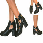 WOMENS CUT OUT CHUNKY HEEL CHELSEA ANKLE BOOTS TASSEL BUCKLE BIKER SHOES SIZE