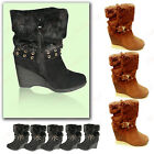 Ladies Designer Suede Fur Wedge Buckle Ankle Snow Winter Boots BootiesUk size3-8