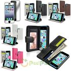 Colors Flip Wallet Leather Case Cover+Mirror Protector For Apple iPhone 5C