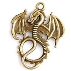 15/75pcs New Stylish Vintage Bronze Dragon Charms Alloy Pendants Charms Findings