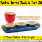 Bamboo Serving Bowls & Tray Set Vietnam Style Lacquer Piano Paint Coating Finish
