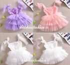NEW Girls Baby Toddler Lace Suspenders Rose Flowers Top Tutu Party Dress 1-6Y