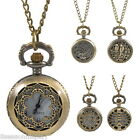1PC Necklace Chain Pocket Watch Hollow Pattern W/Battery Bronze Tone M2265