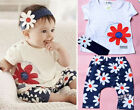 Baby Girl Kids T-shirt Clothes Toddler Headband+Top+Pants Shorts Outfit Clothing