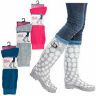 Ladies Welly Socks Plain Wellington Thermal Boots Womens