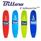Billow 8' Soft Surfboard 8ft Soft Board with Leash & Fins Foam Board 4 Colors