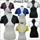 dress190 SATIN BOLERO SHORT SLEEVE BRIDESMAID WEDDING PROM SHRUG CARDIGAN JACKET