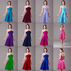New Short Strapless Satin Formal Bridesmaid Prom Dress Holiday Gown Size : 4-18