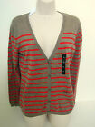 BANANA REPUBLIC Women's Red/Taupe Striped Cardigan Sweater Sizes S,M,L NWT