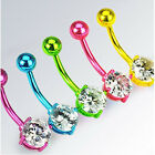 EJ *** BELLY BUTTON PIERCING NEON TITAN CZ CIRCLE 5 COLORS FOR CHOICE