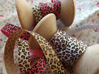 2m Berties Bows Leopard print grosgrain ribbon 9mmwide NEW!! assorted colours