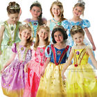 Deluxe Classic Disney Glitter Princess Fancy Dress Costumes Tiara Kids Child