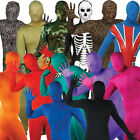 Adult Skinz Lycra Bodysuit Skin Spandex New Fancy Dress Costume Plain Printed