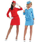 Adult Cabin Crew Fancy Dress Costume & Hat Stewardess Uniform Outfit New Ladies