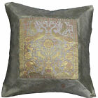 "INDIAN 17"" 43cm Cushion Covers Silver Banarasi Elephant Peacock Scatter Sofa NEW"