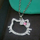 Best Gift HELLOKITTY Crystal Head Shining Jewelry Chain Necklace
