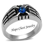 Stainless Steel Blue Simulated Sapphire Crystal Men's Ring - SIZE 8 - 13